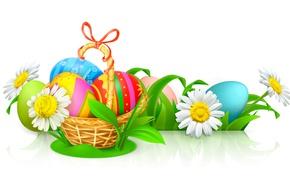 Картинка корзина, ромашки, яйца, Пасха