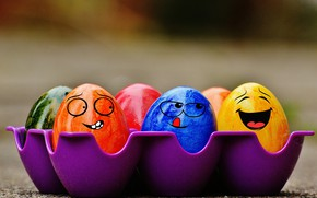 Картинка colorful, смайл, Пасха, rainbow, Easter, eggs, funny, decoration, Happy, яйца крашеные