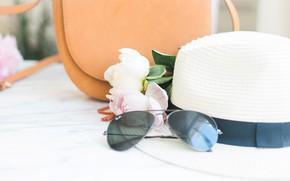 Картинка цветы, букет, шляпа, очки, сумка, pink, flowers, пионы, peonies, tender, marble