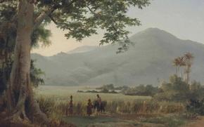 Картинка горы, пальмы, люди, картина, Камиль Писсарро, Пейзаж на Сент Томас