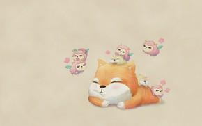 Картинка настроение, сон, котик, аниме, арт, романтик, детская, барашки