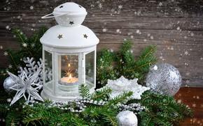 Картинка шар, ель, свечи, Рождество, фонарик, Новый год, шишка, Christmas, decoration, декорация