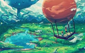 Картинка Природа, Озеро, Книга, Дети, Птицы, Ландшафт, Воздушный Шар