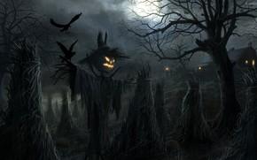 Картинка Halloween, moon, house, field, night, holiday, pumpkin, barn, scary, scarecrow, spooky, ravens, sheaves, Jack O' …
