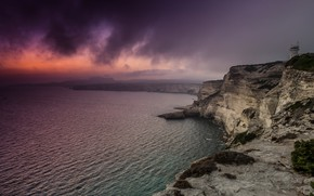 Картинка море, закат, туман, берег, маяк