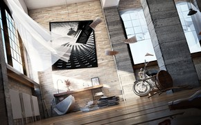Картинка бутылка, картина, мотоцикл, угол, помещение, Lounge Area