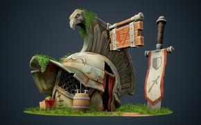 Обои арт, детская, фэнтези, Jourdan Tuffan, Ye Lil' Gladiators' Armory