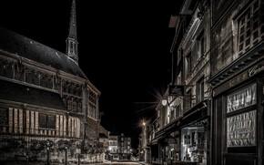 Картинка ночь, улица, Франция, дома, Нормандия, Онфлёр