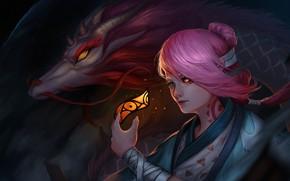 Картинка девушка, дракон, игра, арт, змей, Onmyoji