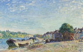 Картинка пейзаж, река, берег, лодка, картина, Alfred Sisley, Альфред Сислей, Берега Луэна в Сен-Мамес