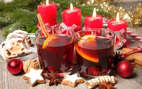Обои tea, punch, Рождество, orange, wine, печенье, глинтвейн, candles, свечи, merry christmas, Новый Год, decoration, шарики