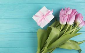 Картинка цветы, подарок, букет, тюльпаны, розовые
