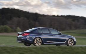 Картинка дорога, поле, лес, небо, трава, облака, движение, растительность, BMW, седан, 5er, тёмно-синий, 2017, 5-series, G30, …