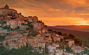 Картинка горы, Франция, дома, склон, зарево, Прованс-Альпы-Лазурный берег, Горд