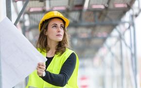 Картинка engineer, female, blueprints, architect