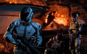 Картинка gun, Andromeda, game, weapon, Mass Effect, rifle, suit, helmet, Mass Effect Andromeda