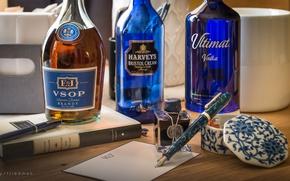 Обои бутылки, бренди, натюрморт, ручка