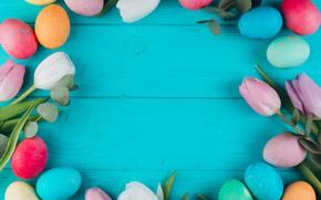 Картинка цветы, яйца, весна, пасха, тюльпаны, Праздник, Православный праздник