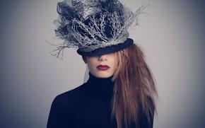 Обои стиль, девушка, шляпка