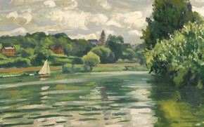 Картинка пейзаж, лодка, картина, парус, Albert Marquet, Альбер Марке, Парусный Спорт на Сене