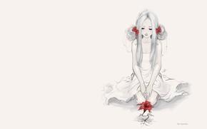 Картинка девушка, настроение, минимализм, набросок, арт, red flower, AyyaSP
