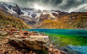 Картинка Clouds, Snow, Mountains, Lake, Stones