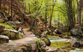 Обои пейзаж, природа, река, ручей, камни, картина, тропинка, Петер Мёрк Мёнстед, Peder Mørk Mønsted, Айленбургский Лес ...