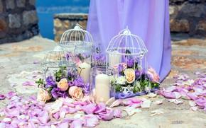 Картинка цветы, розы, свечи, лепестки, клетки, декор, букеты, эустома