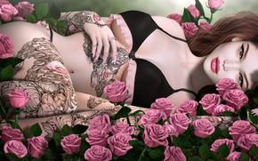 Картинка девушка, розы, тату
