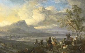 Картинка пейзаж, масло, Филипс Вауэрман, картина, Охота на Цаплю