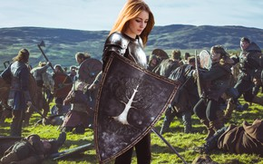Обои posing, look, nature, epic, portrait, dream, model, field, sour, wind, mood, cute, fantasy, armor, pretty, ...
