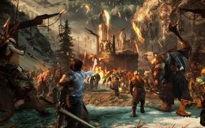 Картинка sword, game, war, man, fight, ken, blade, Middle-earth, troll, warrior, combat, ork, Shadow Of War, ...