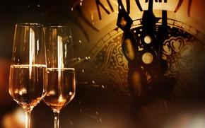 Картинка украшения, ночь, часы, Новый Год, бокалы, шампанское, 2018, New Year, decoration, Happy