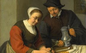 Картинка портрет, картина, Крестьянин и его Жена в Таверне, Адриан ван Остаде