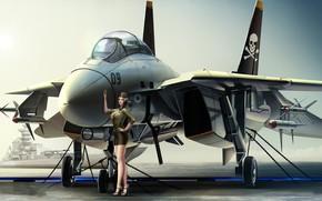 Картинка девушка, армия, самолёт