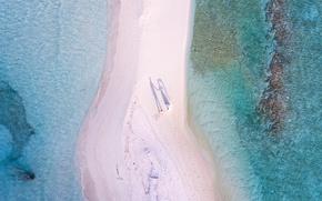 Картинка песок, море, волны, пляж, вода, берег, побережье, прибой, тени, Мальдивы, курорт, невеста, силуэты, вид сверху, …