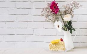 Картинка розы, букет, герберы, выпечка, Тортик