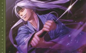 Картинка атака, катана, искры, вампир, плащ, красные глаза, art, демоны бледной сакуры, hakuouki shinsengumi kitan, yone …