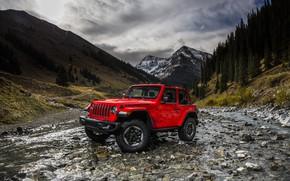 Обои пейзаж, река, 2018, Jeep, горы, Wrangler Rubicon, красный