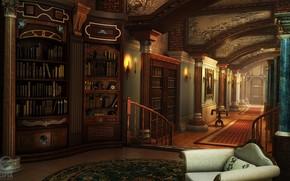 Картинка мебель, коридор, колонны, library, HOPA scenes