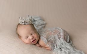 Обои ангел, младенец, корона