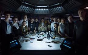 Обои cinema, film, Prometheus, cast, Prologue, Last Supper, movie, alien, Michael Fassbender, Alien: Covenant, Alien: Paradise ...
