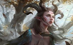 Обои fantasy, horns, feathers, Yuanbin Hu, trees, tattoos, magic, face, fantasy art, Elf, leaves, painting, pointed ...