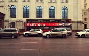 Картинка city, road, europe, cars, street, bus, building, belarus, urban, minsk, rainy