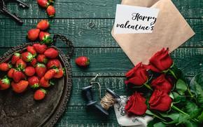 Картинка цветы, ягоды, букет, клубника
