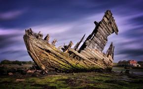 Картинка лодка, Англия, крушение, остов, Gosport
