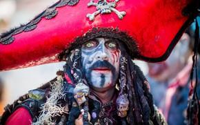 Обои лицо, костюм, пират, мужчина, макияж