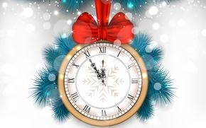 Картинка ветки, красный, блики, праздник, часы, вектор, белый фон, Новый год, бантик, полночь