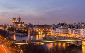 Картинка ночь, мост, огни, река, Франция, Париж, подсветка, Сена, Paris