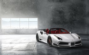 Обои Ferrari, Front, White, Supercar, Wide, 488, Rearl